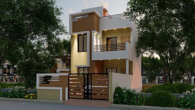 Renderização 3d de uma casa individual à luz da noite com iluminação