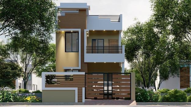 Renderização 3d de uma casa individual à luz do dia com iluminação