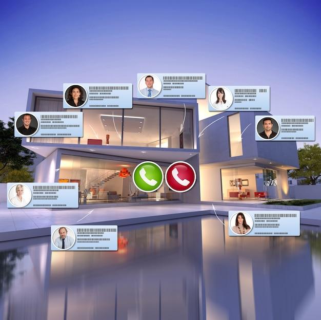 Renderização 3d de uma casa luxuosa e moderna com piscina e contatos conectando-se em uma videoconferência