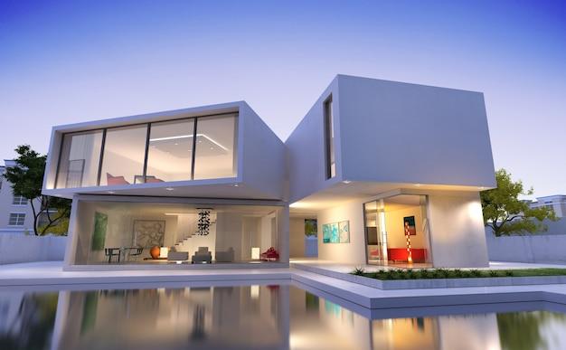 Renderização 3d de uma casa moderna de luxo