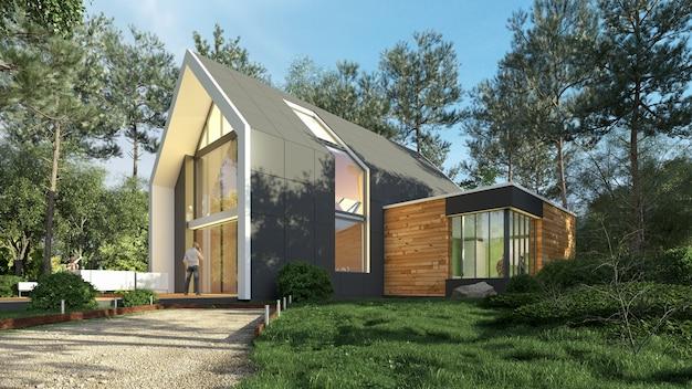 Renderização 3d de uma casa moderna e iluminada em uma paisagem natural