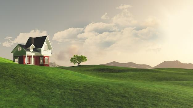 Renderização 3d de uma casa no campo