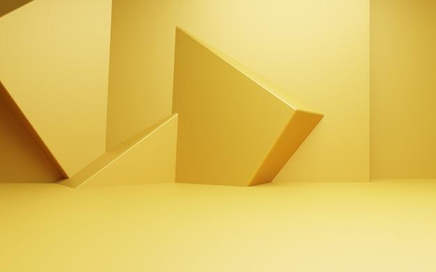 Renderização 3d de uma cena de fundo mínimo abstrato ouro vazio para anúncios de cosméticos de design