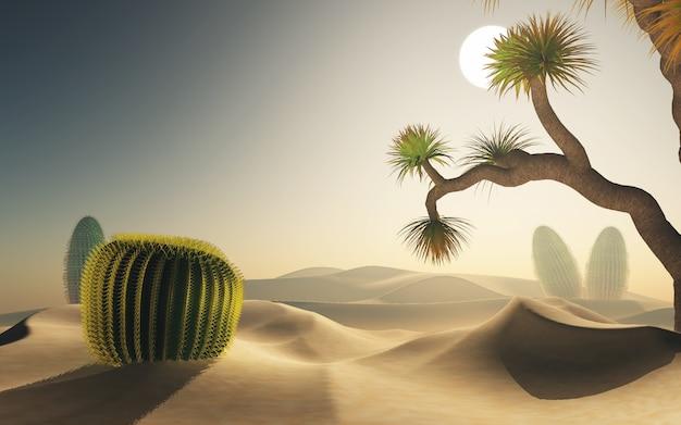 Renderização 3d de uma cena do deserto
