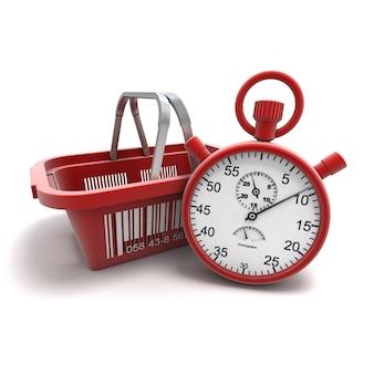 Renderização 3d de uma cesta de compras com um cronômetro