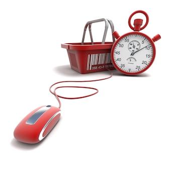 Renderização 3d de uma cesta de compras conectada a um mouse de computador com um temporizador