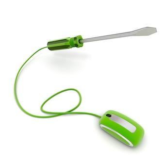Renderização 3d de uma chave de fenda conectada a um mouse de computador