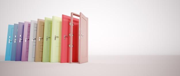 Renderização 3d de uma coleção de portas multicoloridas em diferentes estilos