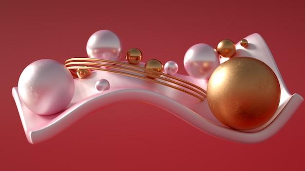 Renderização 3d de uma composição realista. esferas voadoras, toros, tubos, cones e cristais em movimento. minimalismo de fundo de bela abstração. ilustração 3d, renderização em 3d.