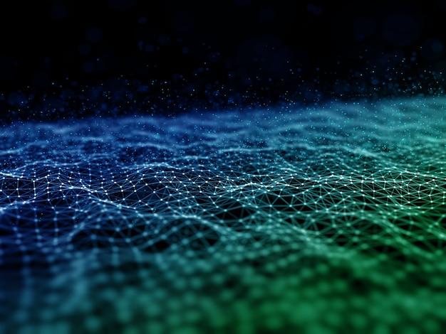 Renderização 3d de uma comunicação de rede moderna com linhas de conexão e estrutura de pontos