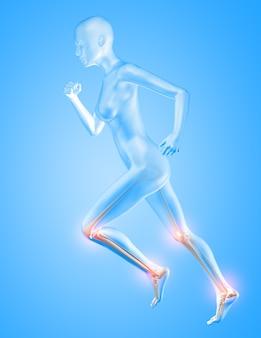 Renderização 3d de uma figura feminina correndo com os ossos do joelho e tornozelo em destaque