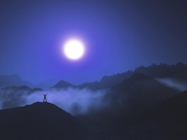 Renderização 3d de uma figura masculina em uma paisagem montanhosa com nuvens baixas contra um céu ao pôr do sol