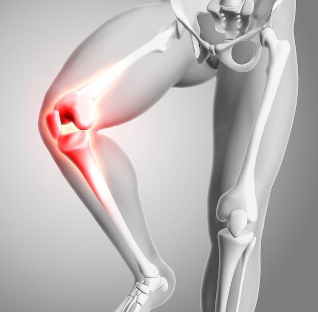 Renderização 3d de uma figura médica com close-up do joelho e ossos brilhantes