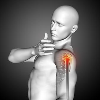 Renderização 3d de uma figura médica masculina com close-up do ombro