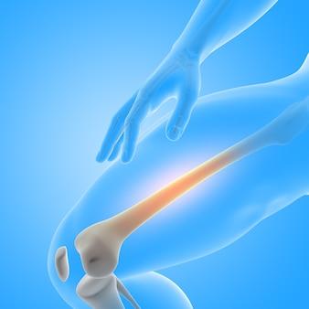 Renderização 3d de uma figura médica masculina com close-up do osso da coxa