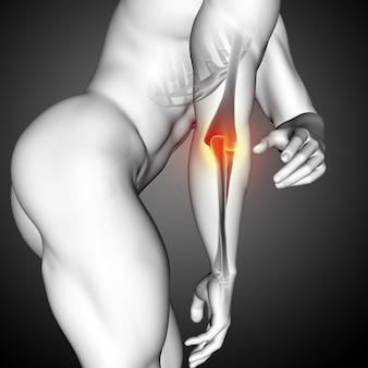Renderização 3d de uma figura médica masculina com close-up do osso do cotovelo