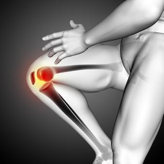 Renderização 3d de uma figura médica masculina com close-up do osso do joelho