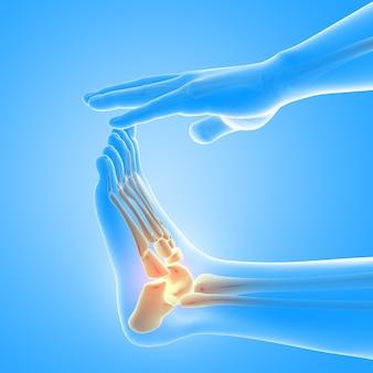 Renderização 3d de uma figura médica masculina com close-up do pé e ossos do tornozelo em destaque