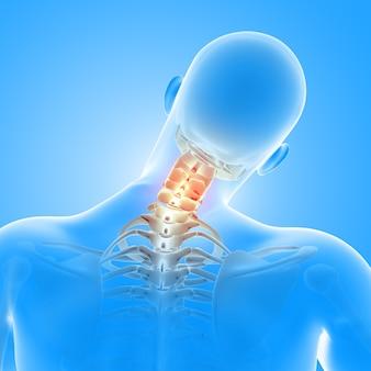 Renderização 3d de uma figura médica masculina com ossos do pescoço em destaque