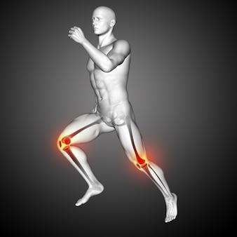 Renderização 3d de uma figura médica masculina correndo com os joelhos destacados