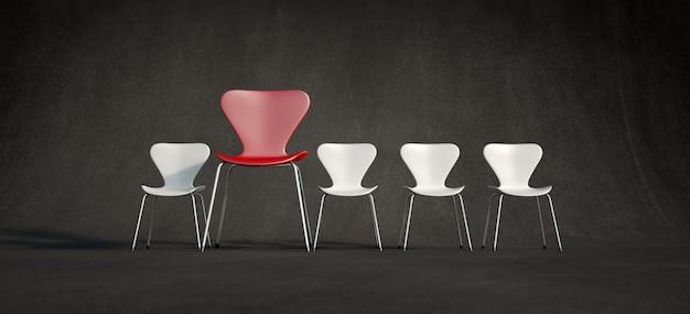 Renderização 3d de uma fileira de cadeiras brancas e uma vermelha contrastante em uma posição mais avançada