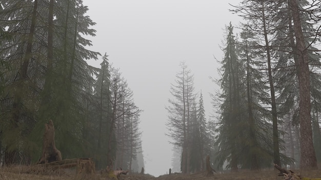 Renderização 3d de uma floresta mística durante o dia na neblina