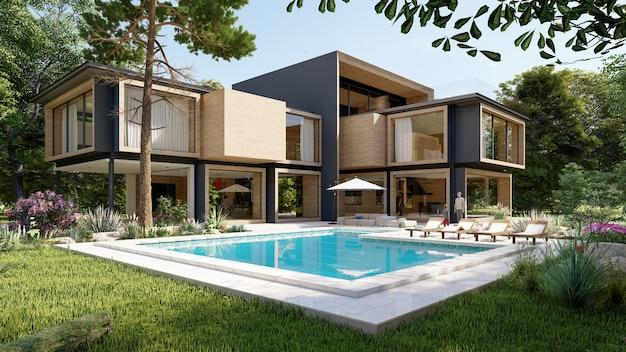 Renderização 3d de uma grande casa moderna contemporânea em madeira e concreto