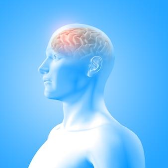 Renderização 3d de uma imagem médica mostrando o cérebro em uma figura masculina com lobo frontal em destaque