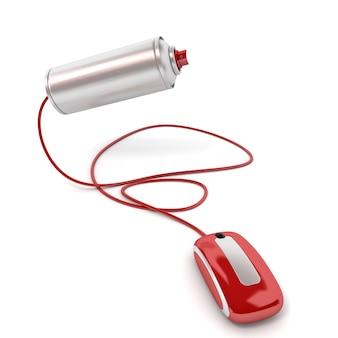 Renderização 3d de uma lata de spray conectada a um mouse de computador