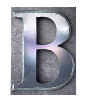 Renderização 3d de uma letra b maiúscula em impressão datilografada metálica