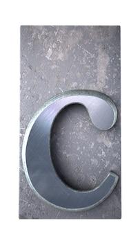 Renderização 3d de uma letra c em impressão datilografada metálica