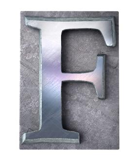 Renderização 3d de uma letra f maiúscula em impressão datilografada metálica