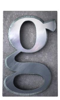 Renderização 3d de uma letra g em impressão datilografada metálica