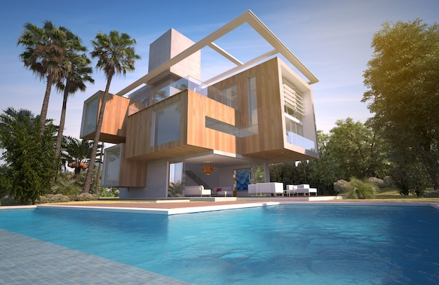 Renderização 3d de uma luxuosa villa de madeira e pedra com piscina e jardim exótico