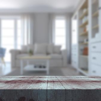 Renderização 3d de uma mesa de madeira voltada para o interior de um salão desfocado
