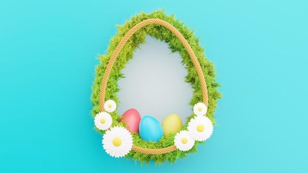 Renderização 3d de uma moldura de ovo branco com grama para o feliz festival de páscoa
