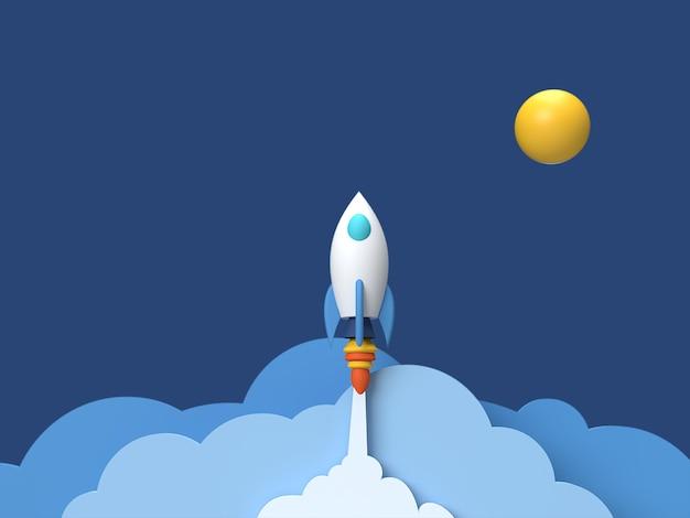 Renderização 3d de uma nave espacial no ar