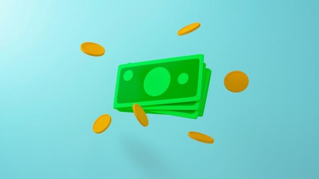 Renderização 3d de uma nota verde e moedas de ouro ao redor sobre fundo azul
