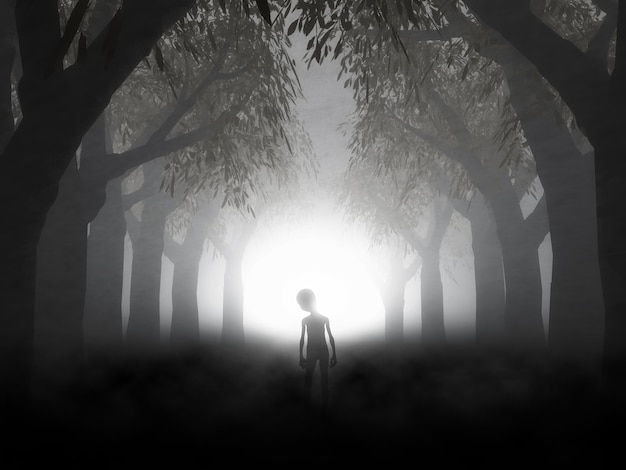 Renderização 3d de uma paisagem assustadora com alienígenas na floresta nebulosa