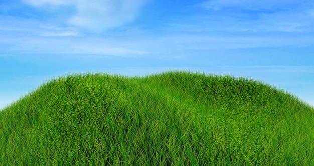 Renderização 3d de uma paisagem de grama contra um céu azul nublado