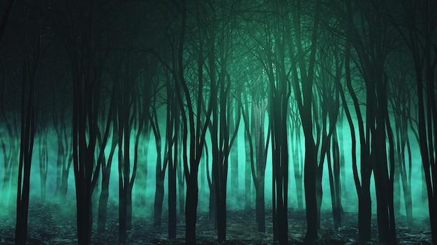 Renderização 3d de uma paisagem de halloween com floresta de nevoeiro assustador