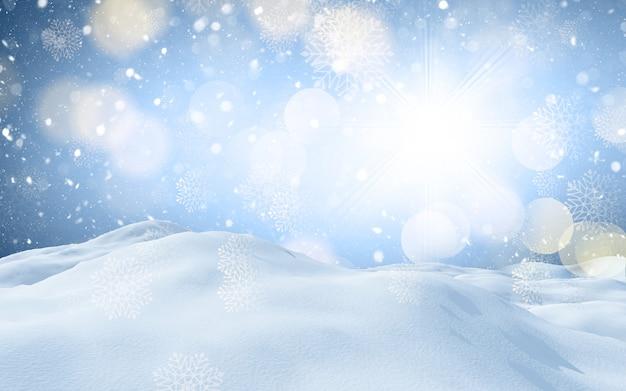 Renderização 3d de uma paisagem de inverno com neve no natal