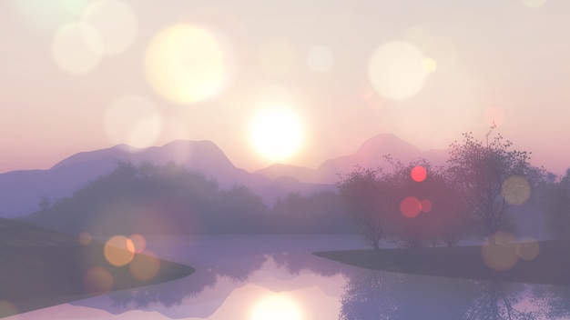 Renderização 3d de uma paisagem de lago com efeito retro