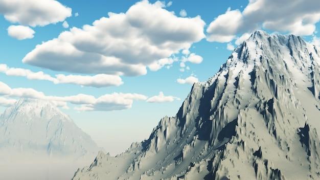 Renderização 3d de uma paisagem de montanha nevada contra o céu ensolarado