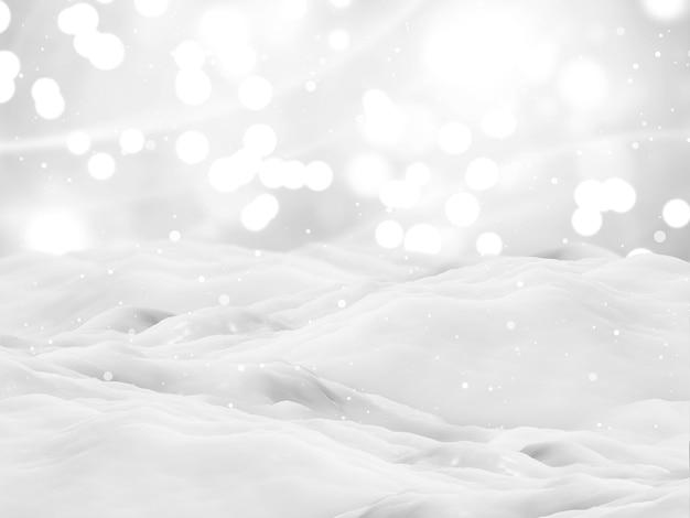 Renderização 3d de uma paisagem de natal com neve
