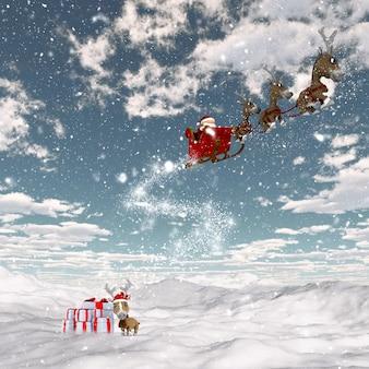 Renderização 3d de uma paisagem de neve com o papai noel e suas renas