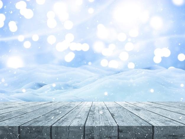 Renderização 3d de uma paisagem de neve de natal com mesa de madeira