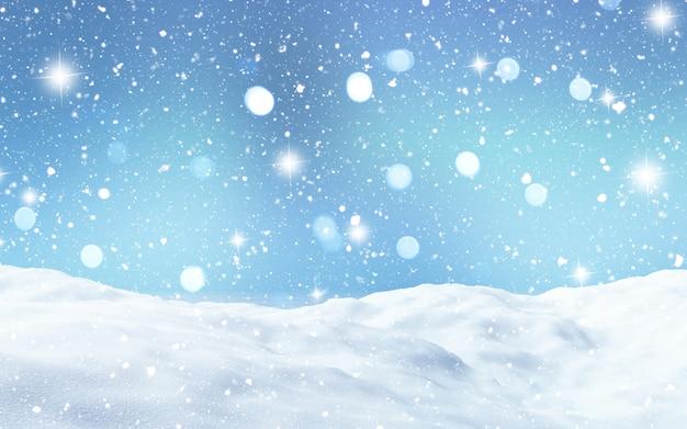 Renderização 3d de uma paisagem de neve