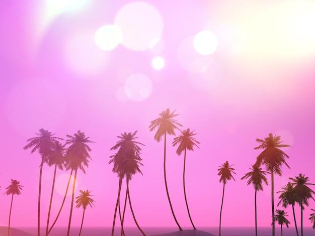 Renderização 3d de uma paisagem de palmeiras com efeito retro