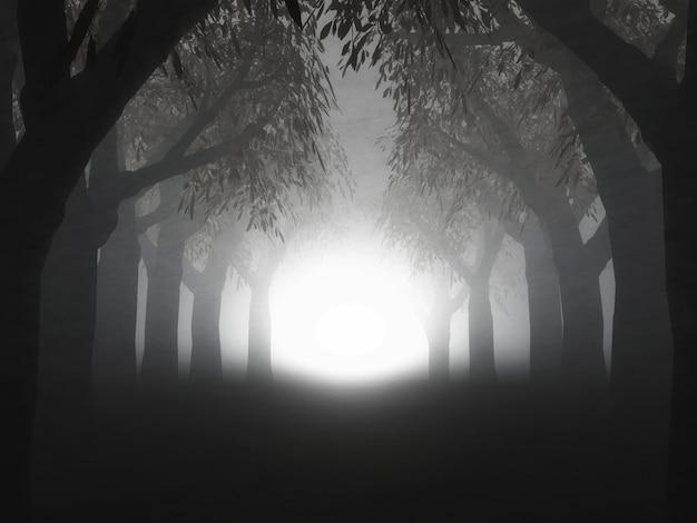 Renderização 3d de uma paisagem de uma floresta nebulosa